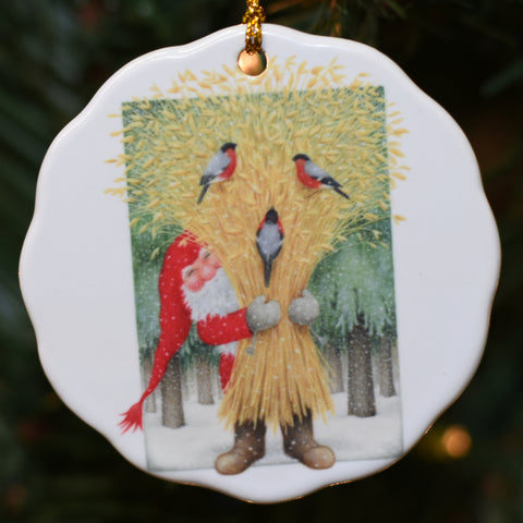 Ceramic Ornament, Eva Melhuish Tomte with Wheat