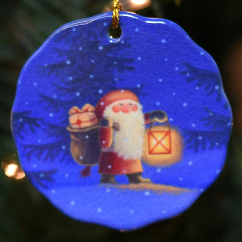 Ceramic Ornament, Eva Melhuish Tomte with Lantern
