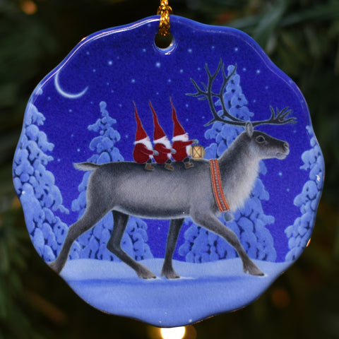 Ceramic Ornament, Eva Melhuish Riding reindeer