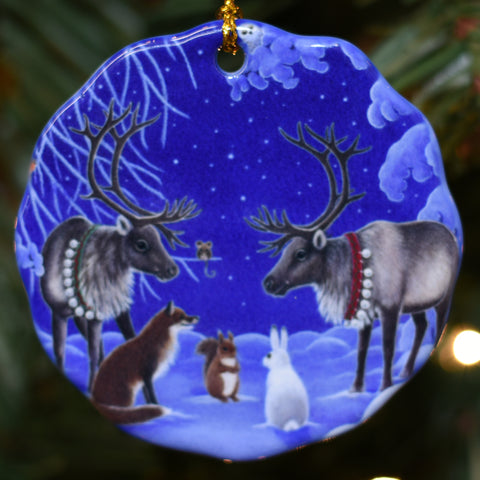 Ceramic Ornament, Eva Melhuish Two Reindeer & Animals