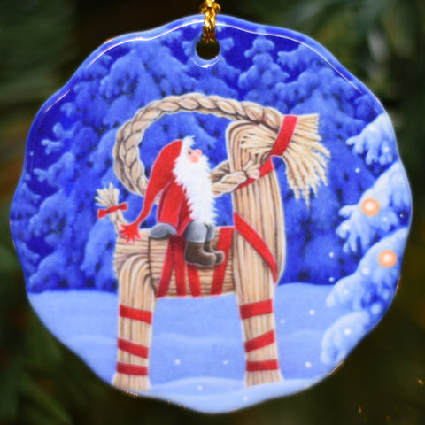 Ceramic Ornament, Eva Melhuish Tomte on Straw Goat