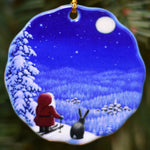 Ceramic Ornament, Eva Melhuish Tomte on Skiis w/bunny