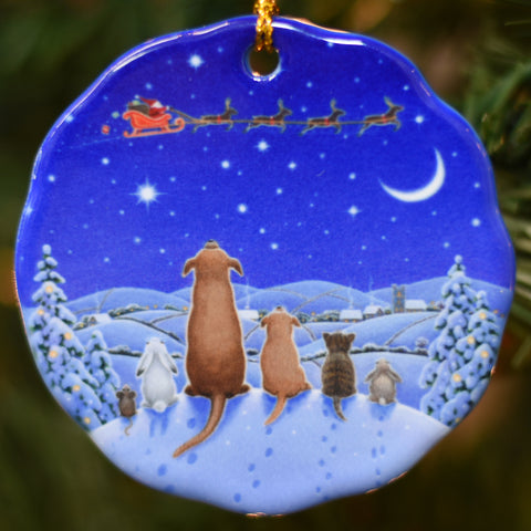 Ceramic Ornament, Eva Melhuish, animals watching santa