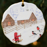 Ceramic Ornament, Eva Melhuish, Tomte Skiing with Birds