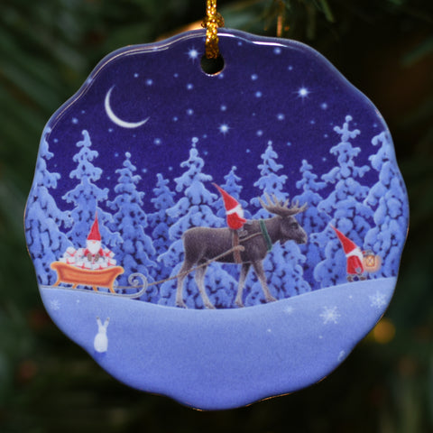 Ceramic Ornament, Eva Melhuish Tomte Riding a moose