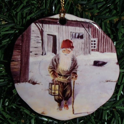 Ceramic Ornament, Jan Bergerlind Tomte with lantern