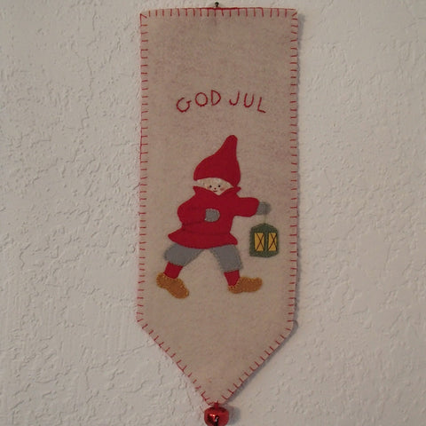 God Jul Wall Hanging  Tomte with Lantern