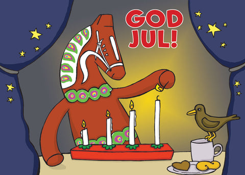 Karin Didring Dala horse God Jul Rectangle Magnet