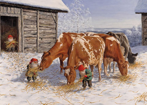 Jan Bergerlind Tomtar with Cows Magnet