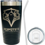 WTHS Robotics Program 20oz stainless steel hot/cold cup w/ Silicone straw & extra lid