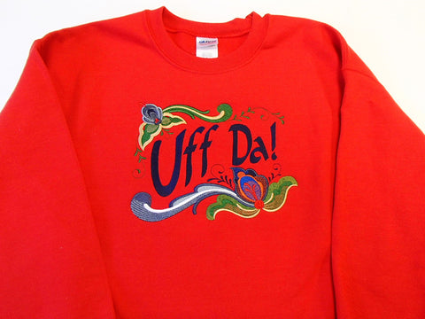 Uff da Rosemaling Hearts on Red Sweatshirt