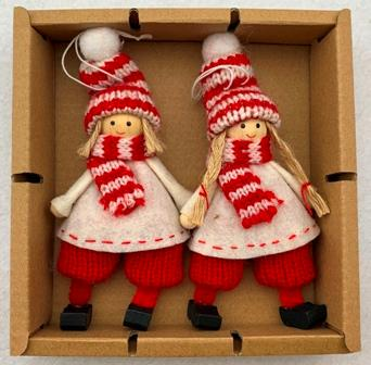 Tomte boy & girl ornament pair