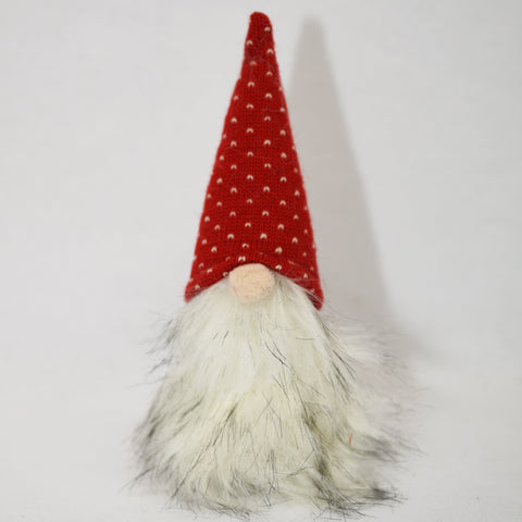 Fuzzy gnome with red knit hat, 8""