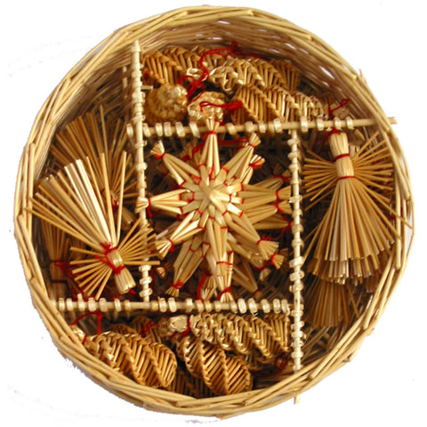 Straw ornament set - 30 pc set.