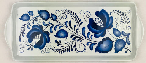 Almond Cake serving tray Blue Folk Art