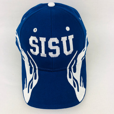 Sisu royal blue baseball cap with flames