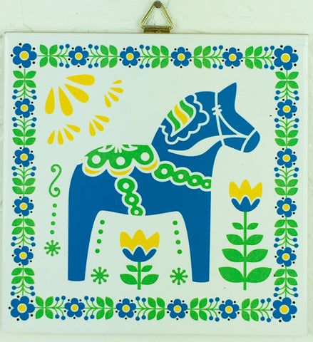 "6"" Ceramic Tile, Blue Dalahorse"