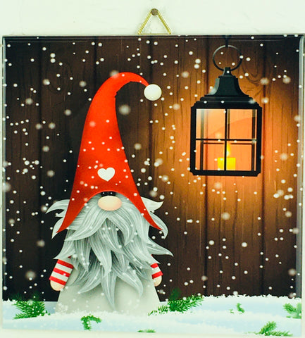 "6"" Ceramic Tile, Elf & hanging lantern"