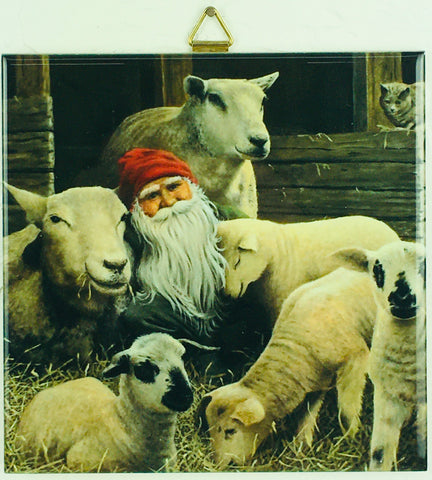"6"" Ceramic Tile, Jan Bergerlind, Tomte w/ Sheep"