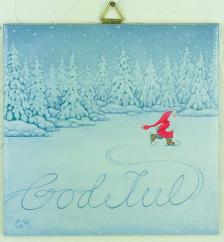 "6"" Ceramic Tile, Eva Melhuish God Jul Skating Tomte"