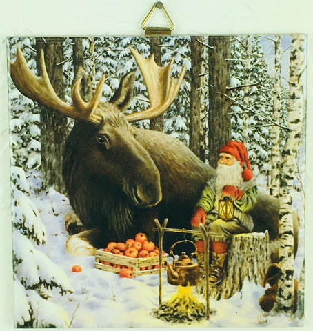 "6"" Ceramic Tile, J Bergerlind Tomte and Moose"