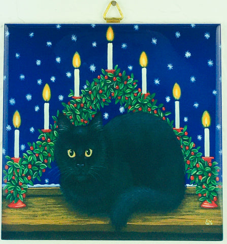 "6"" Ceramic Tile, Eva Melhuish Black Cat"