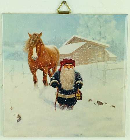 "6"" Ceramic Tile, Jan Bergerlind Tomte with Horse"