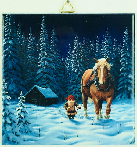 "6"" Ceramic Tile, Jan Bergerlind, Tomte & horse at night"