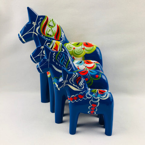 Blue wooden Dala horse