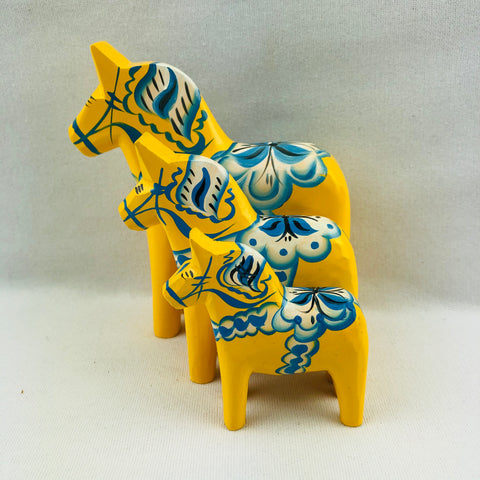 "Yellow ""Sweden"" wooden Dala horse"