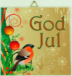 "6"" Ceramic Tile, God Jul Bullfinch"