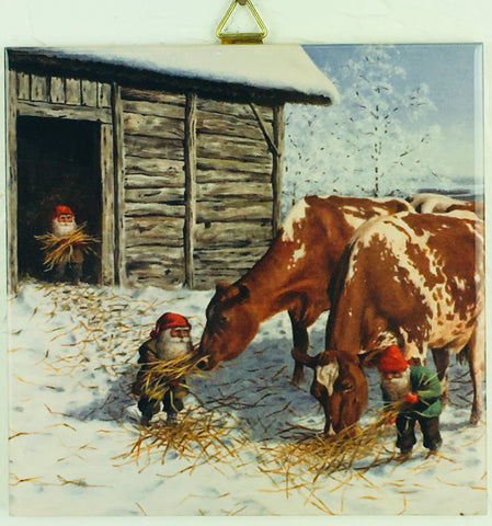 "6"" Ceramic Tile, Jan Bergerlind, Feeding Cows"