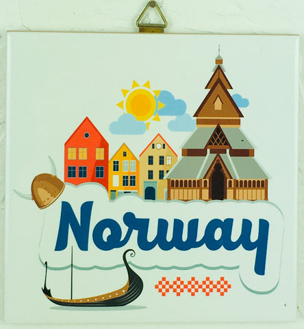 "6"" Ceramic Tile, Norway Church and ship"