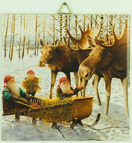 "6"" Ceramic Tile, Jan Bergerlind, Moose & Sled"