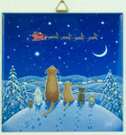 "6"" Ceramic Tile, Eva Melhuish Animals Watching Santa's Sleigh"