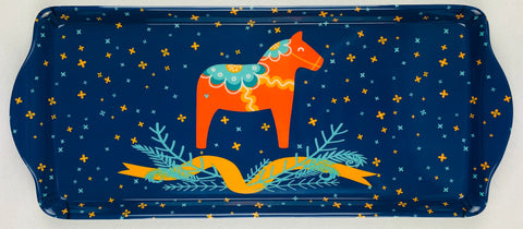 Almond Cake serving tray Dala horse on Blue