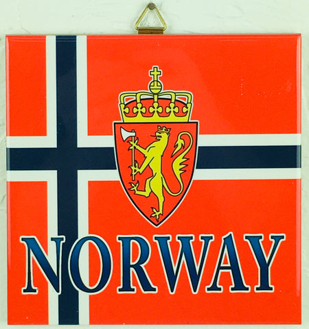 "6"" Ceramic Tile, Norway Flag & Crest"