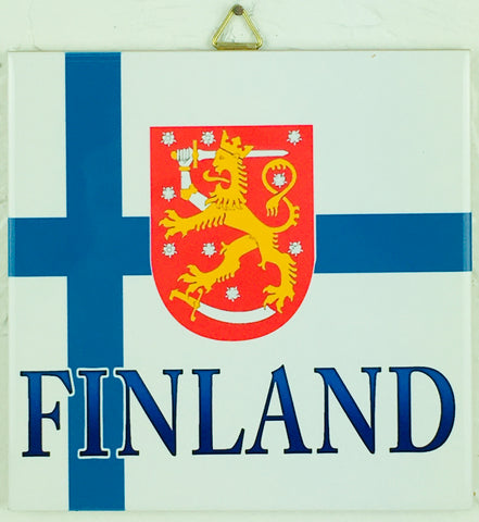 "6"" Ceramic Tile, Finland Flag & Crest"