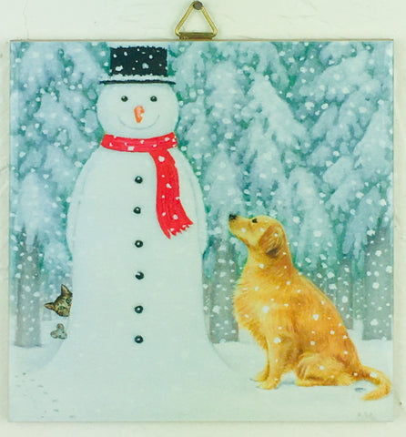 "6"" Ceramic Tile, Eva Melhuish, snowman & golden"