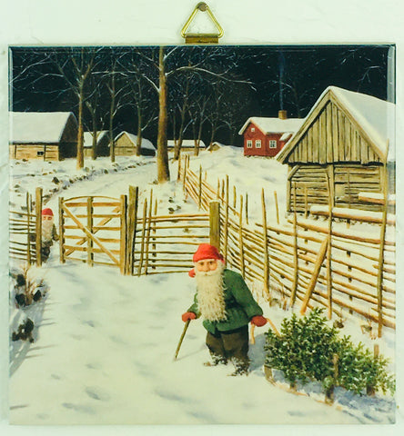 "6"" Ceramic Tile, J Bergerlind Tomte with Tree"