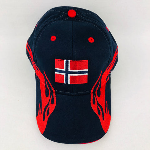 Norway flag navy baseball cap with red flames