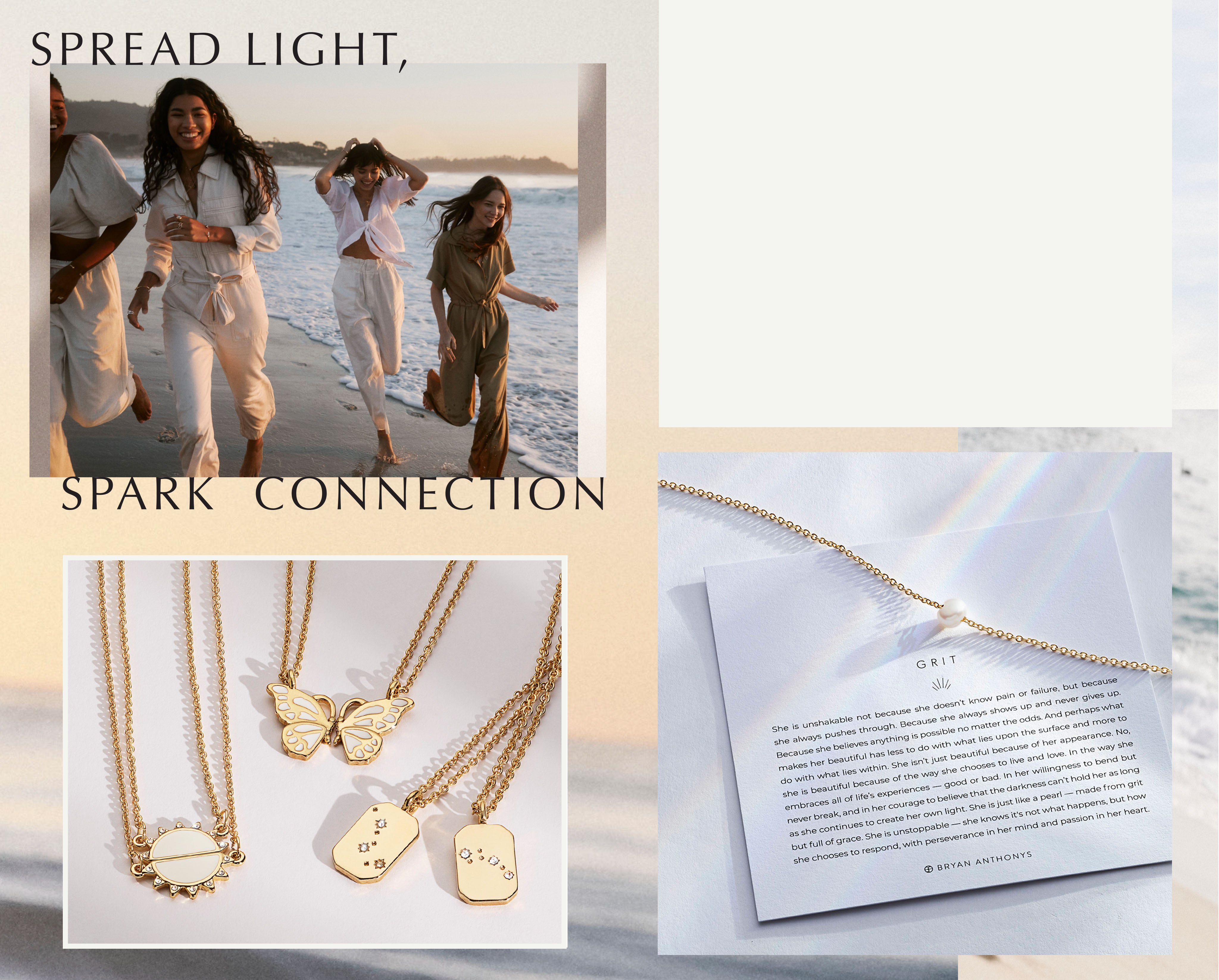 Banner with models on the beach, Text: Spread Light, Spark connection