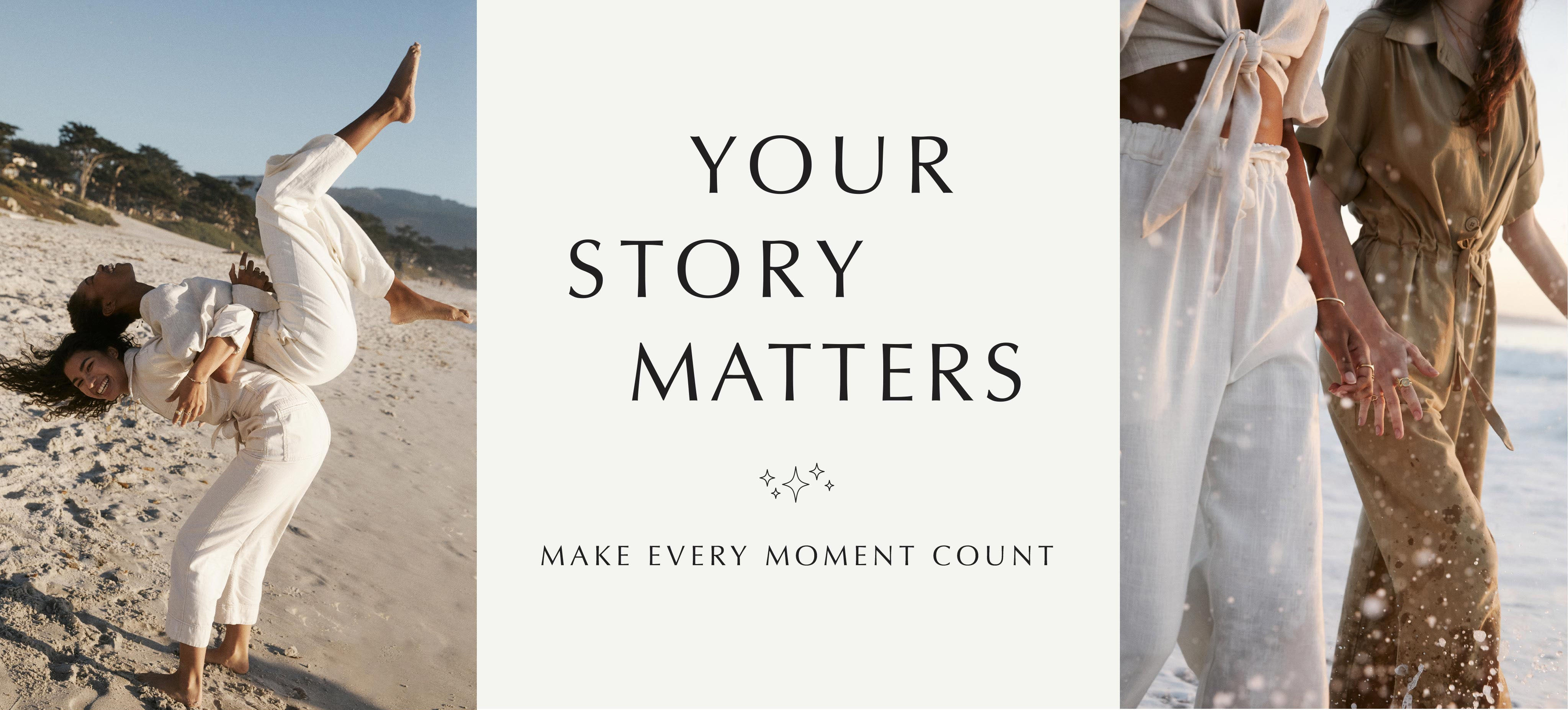 Banner with models on the beach, Text: Your Story Matters - Make Every moment count