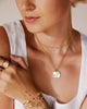 Bryan Anthonys Every Rise Every Fall Gold Heart Necklace on Model