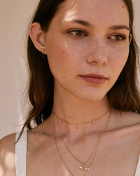 Bryan Anthonys CROSS MY HEART GOLD NECKLACE LET GO GOLD CHOKER ON MODEL