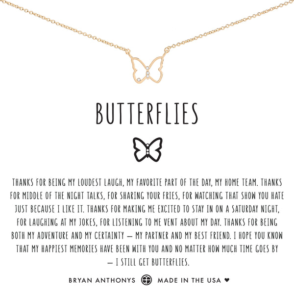 Bryan Anthonys dainty butterflies necklace 14k gold