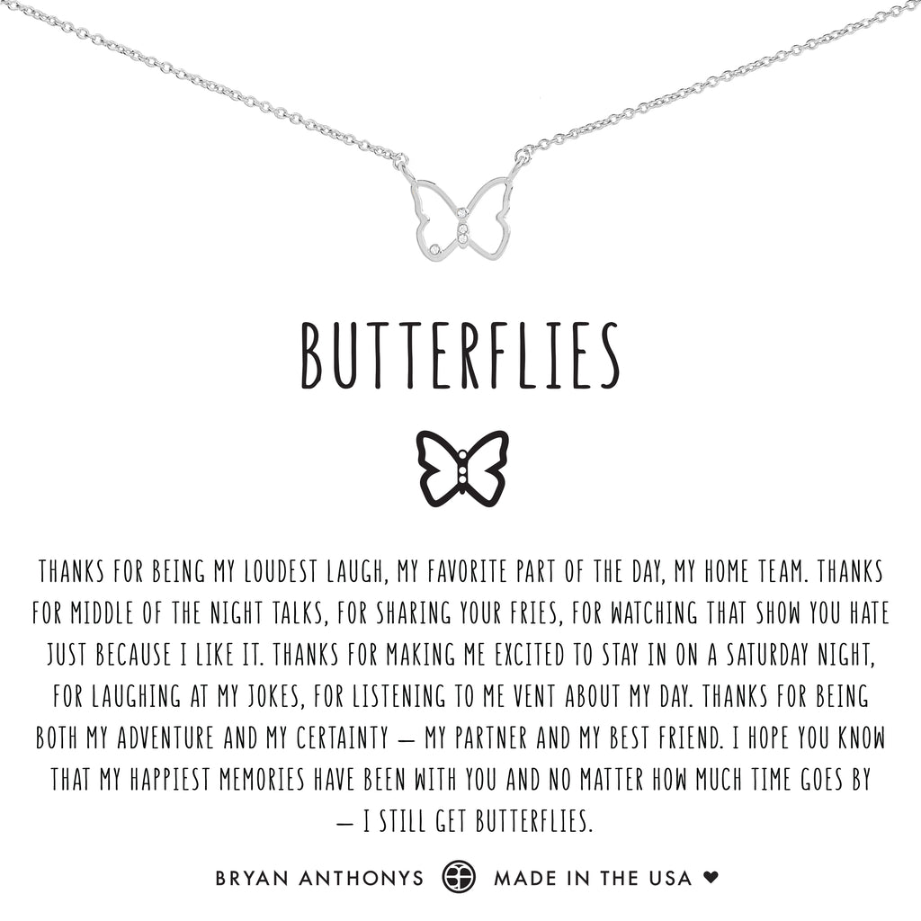 Bryan Anthonys dainty butterflies necklace silver