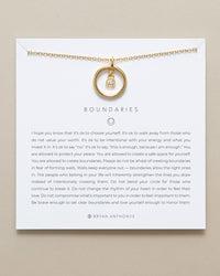 Bryan Anthonys dainty boundaries necklace holding card