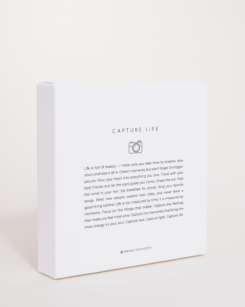 Bryan Anthonys Capture Life Mini Mantra Hand-Stretched Matte White Canvas Print Side View