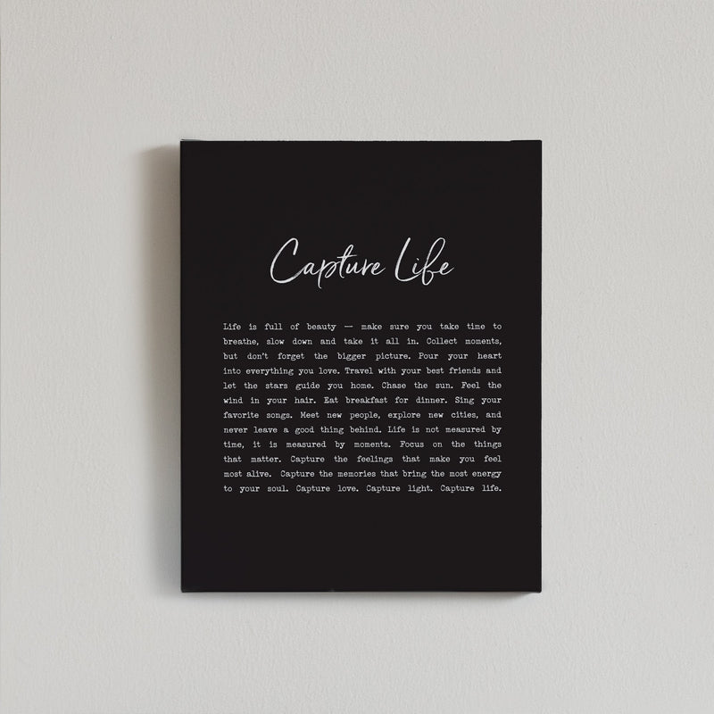 Capture Life Canvas Print {Black}